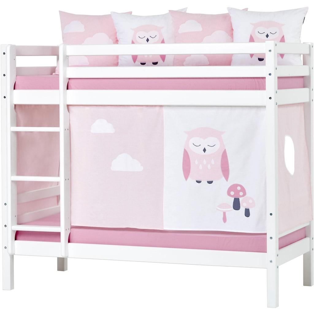 Hoppekids Etagenbett »Eule«, mit blauem oder rosafarbenem Matratzenbezug