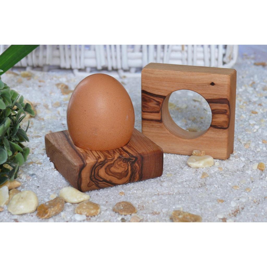 Olivenholz-erleben Eierbecher, (Set, 12 tlg., 6 Eierbecher, 6 Eierlöffel), Olivenholz, Handarbeit