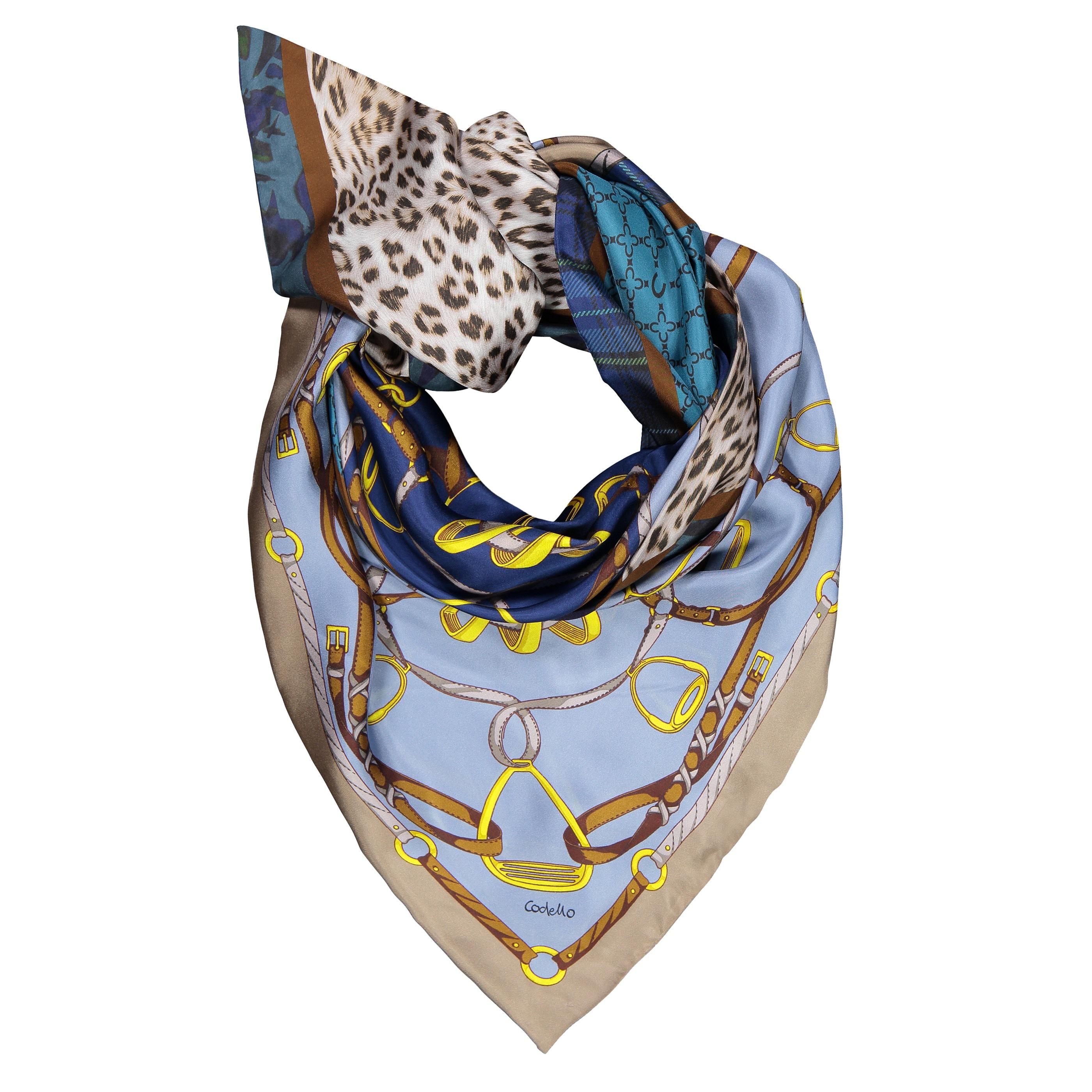 Codello Dreieckstuch, aus reiner Seide blau Damen Dreieckstücher Schals, Loops Tücher Accessoires Dreieckstuch