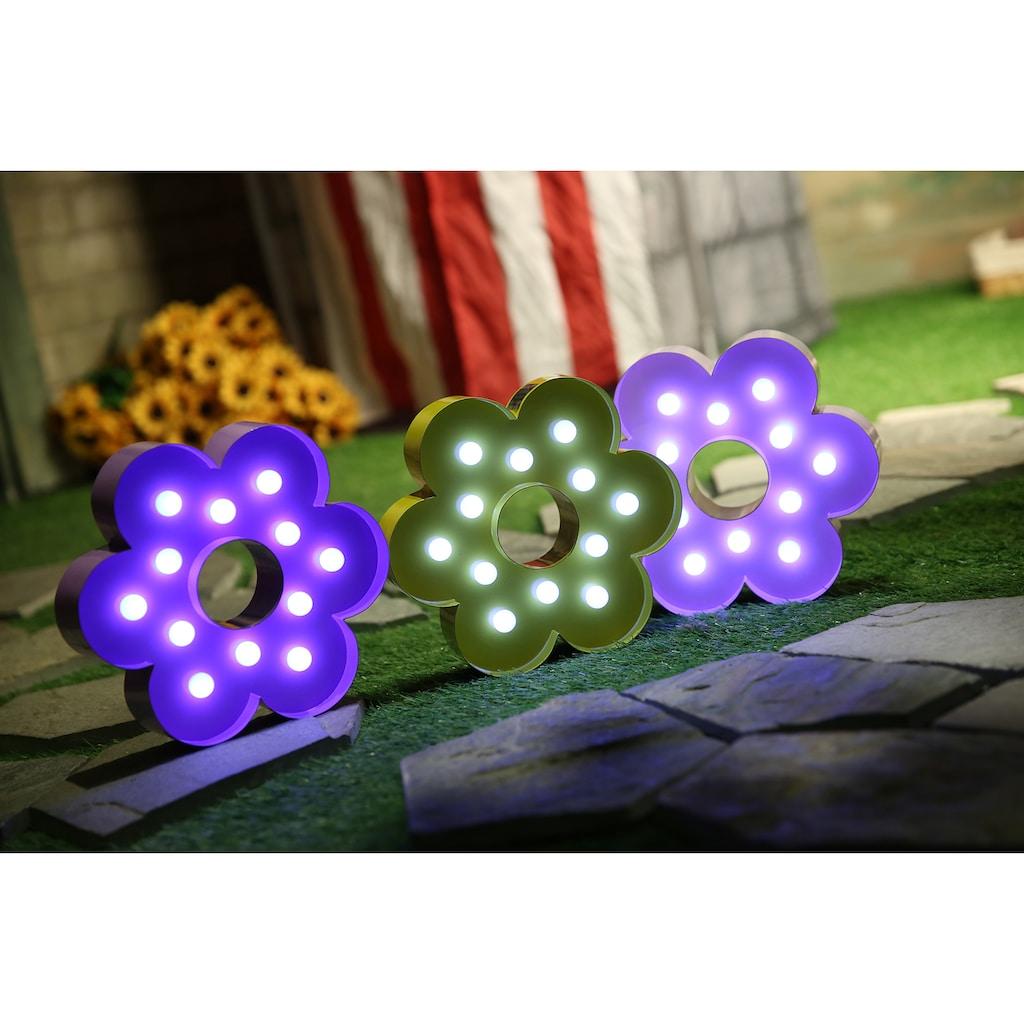 MARQUEE LIGHTS LED Dekolicht »Blume«, 1 St., Warmweiß, Wandlampe, Tischlampe Flower mit 12 festverbauten LEDs - 23cm Breit und 23cm hoch
