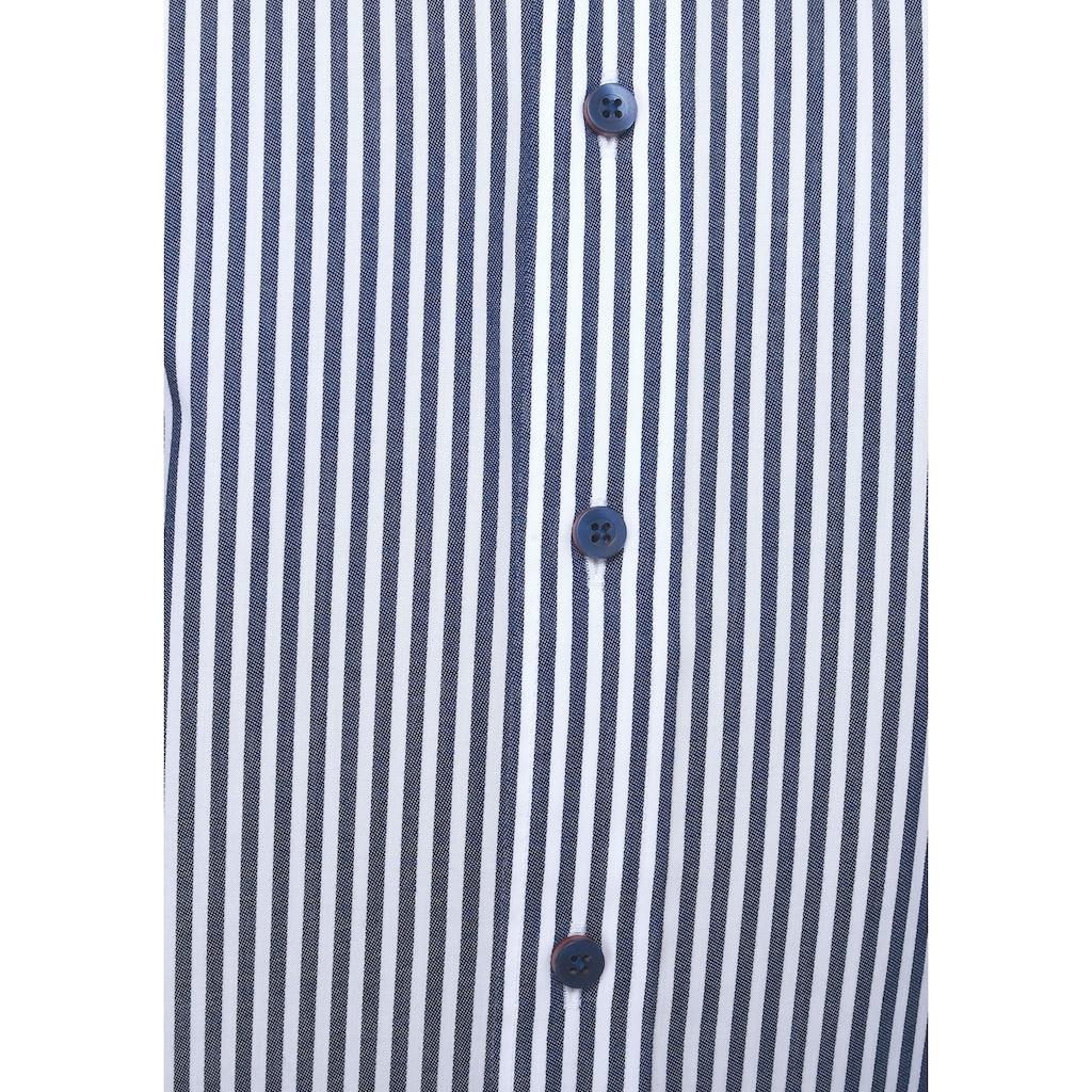 Bruno Banani Businesshemd, modischer Streifenlook, doppelter Button-down-Kragen