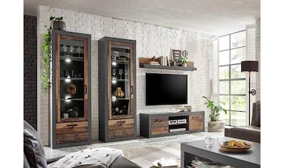 Home affaire Wohnwand »BROOKLYN«, (4 tlg.), in dekorativer Rahmenoptik kaufen