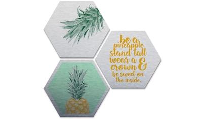 Wall-Art Mehrteilige Bilder »Silbereffekt Ananas Spruch«, (Set, 3 St.) kaufen