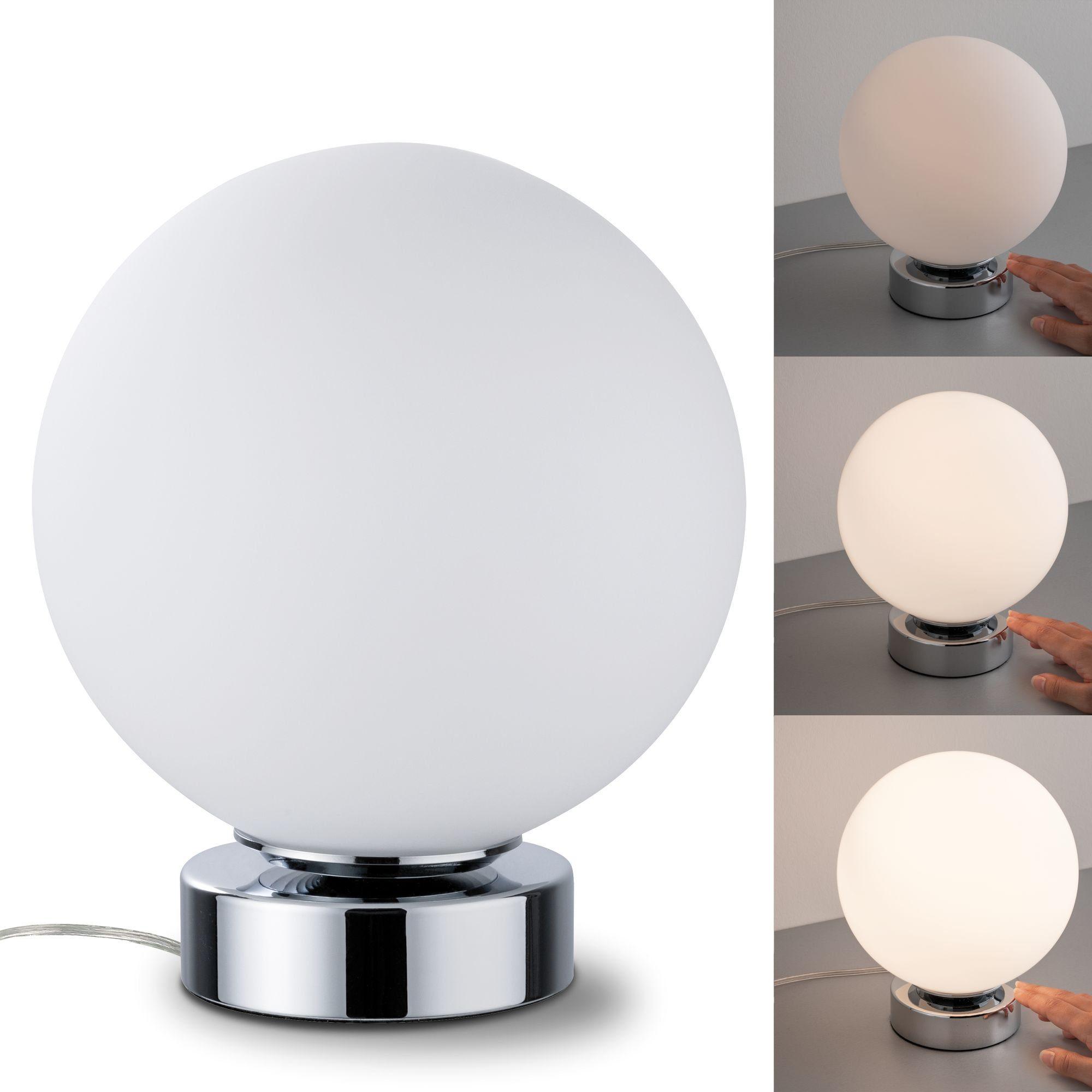 Paulmann,LED Tischleuchte Aari Chrom/Opal mit Touchschalter 1-flammig