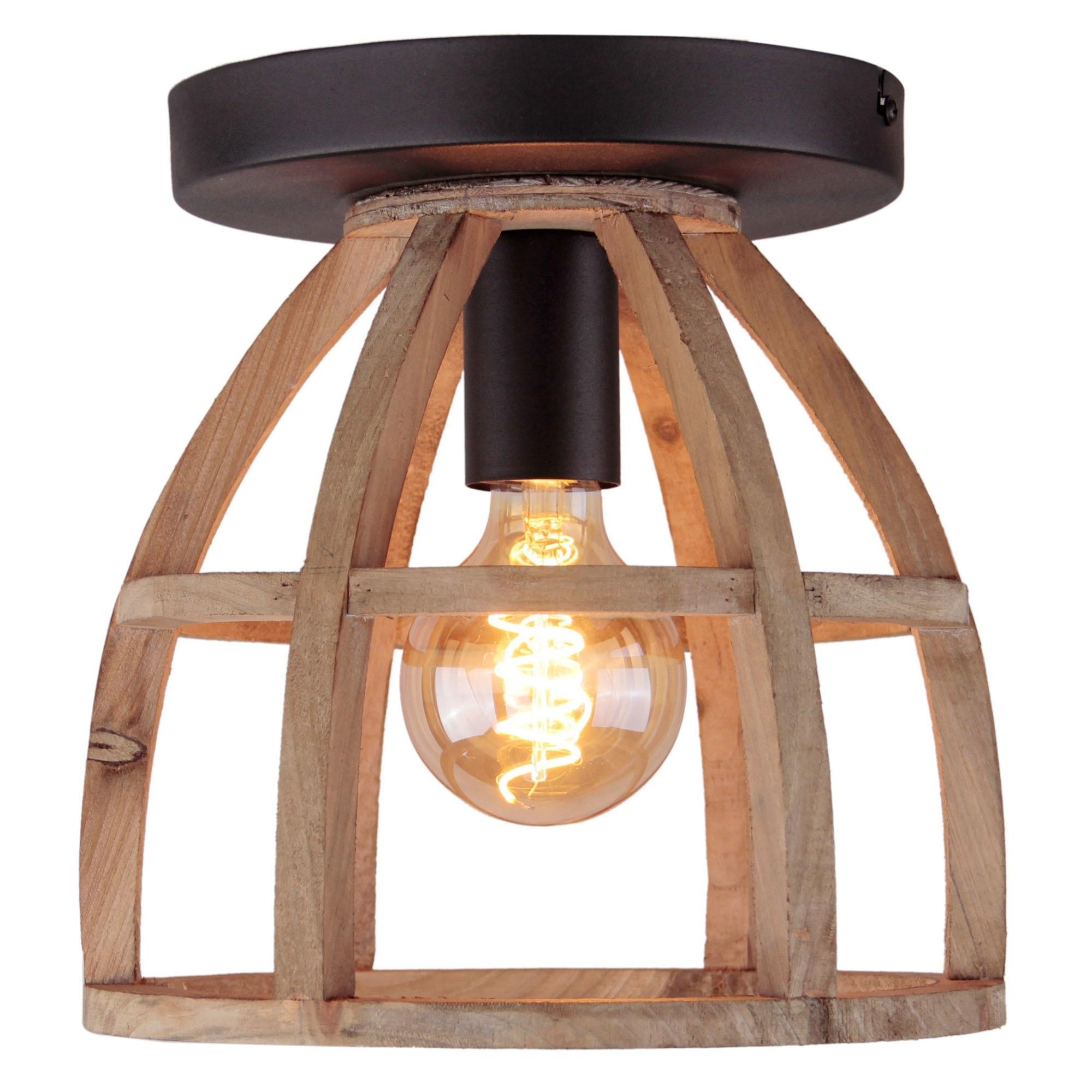 Brilliant Leuchten Matrix Wood Deckenleuchte 1flg antik holz/schwarz korund