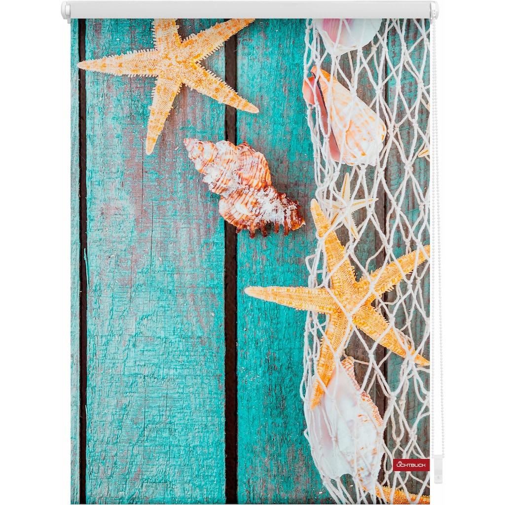 LICHTBLICK ORIGINAL Seitenzugrollo »Klemmfix Motiv Bretter Beach«, Lichtschutz, ohne Bohren, freihängend, bedruckt