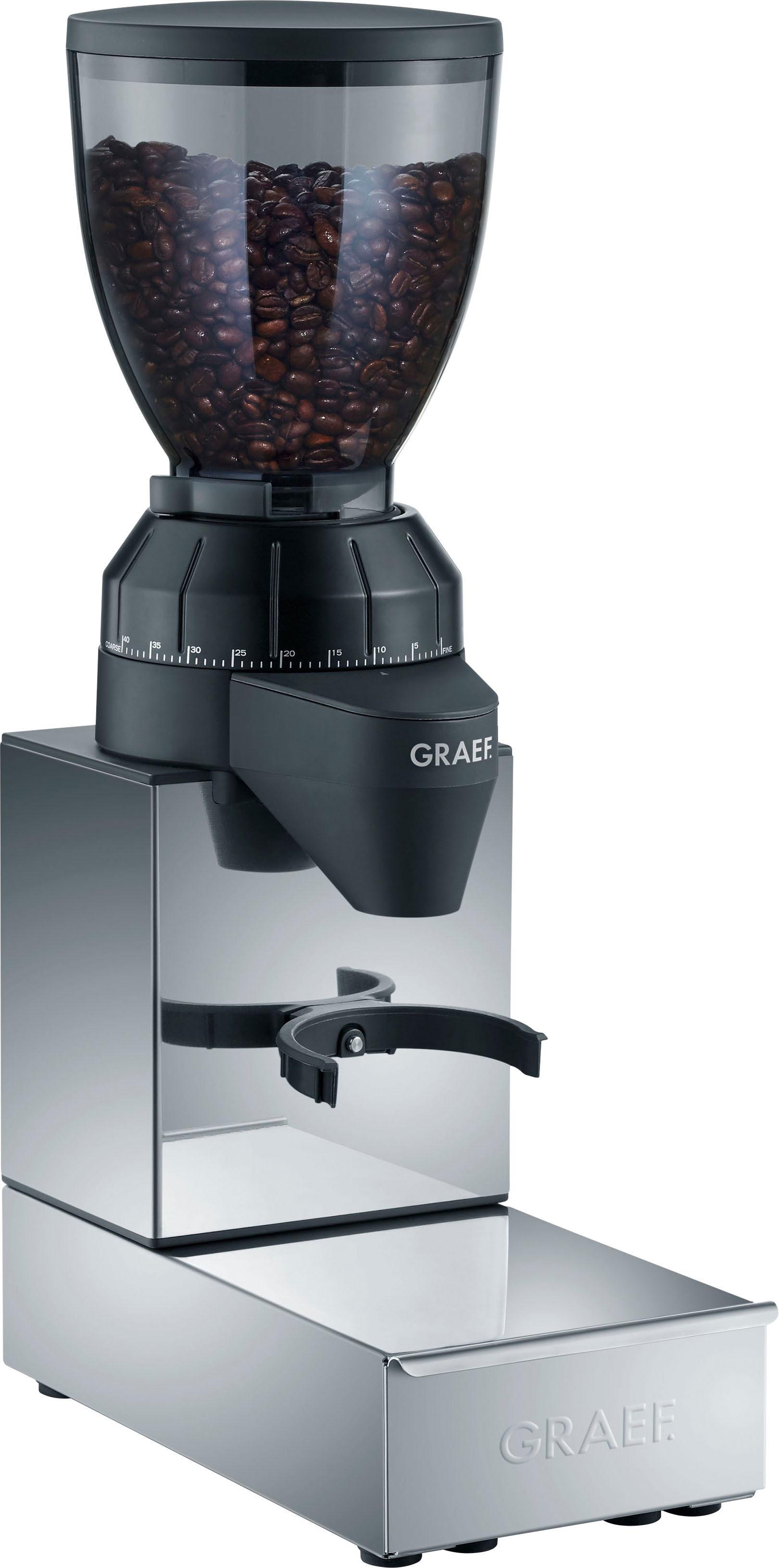 Graef Kaffeemühle CM 850 mit integrierter Ausklopfschublade, Edelstahl, Kegelmahlwerk