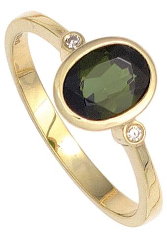 JOBO Diamantring, 585 Gold mit 2 Diamanten und Turmalin kaufen