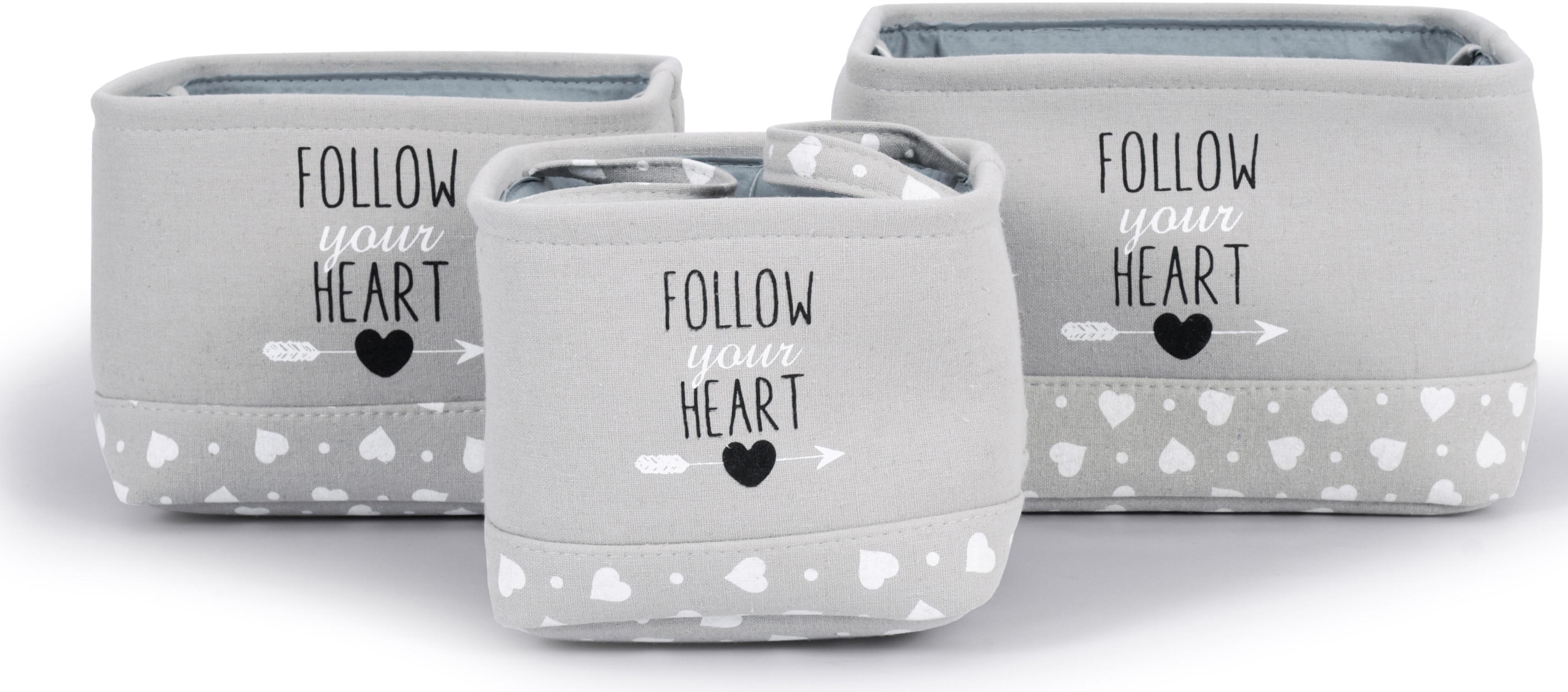 Franz Müller Flechtwaren Aufbewahrungsbox Follow your Heart, (Set, 3 St.), quadratisch grau Kleideraufbewahrung Aufbewahrung Ordnung Wohnaccessoires