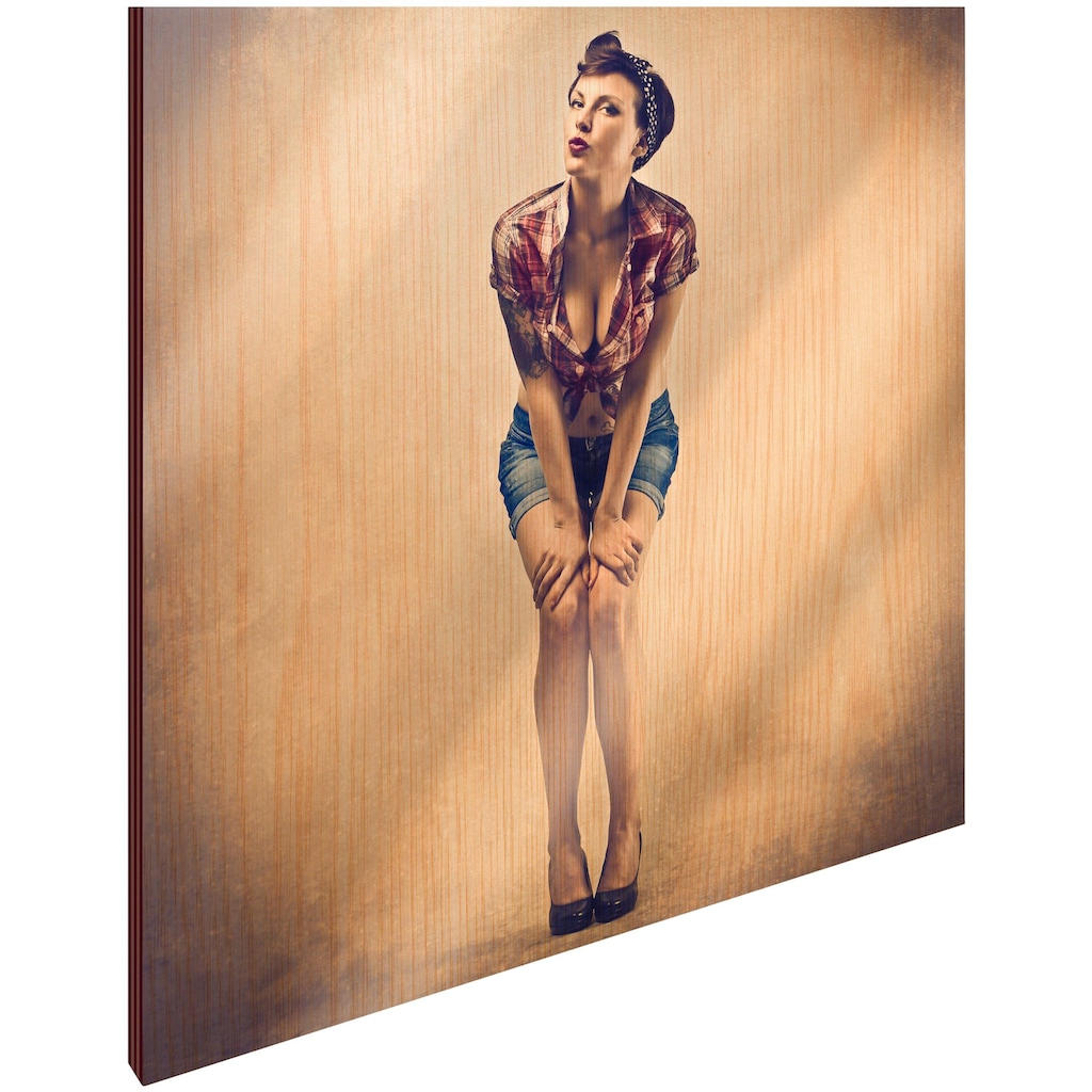 Art & Pleasure Holzbild »Mrs pin up«, Menschen