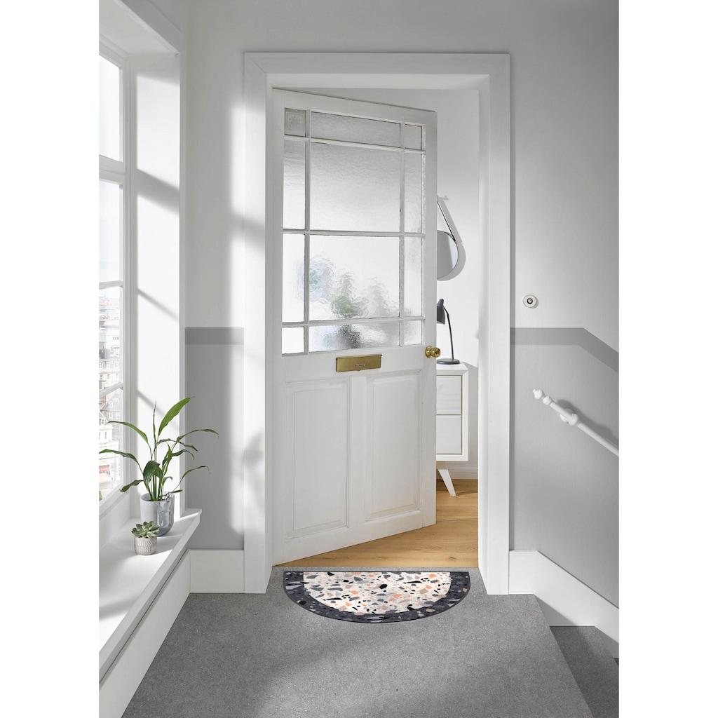 wash+dry by Kleen-Tex Fußmatte »Round Terrazzo«, halbrund, 7 mm Höhe, Schmutzfangmatte, In- und Outdoor geeignet, waschbar