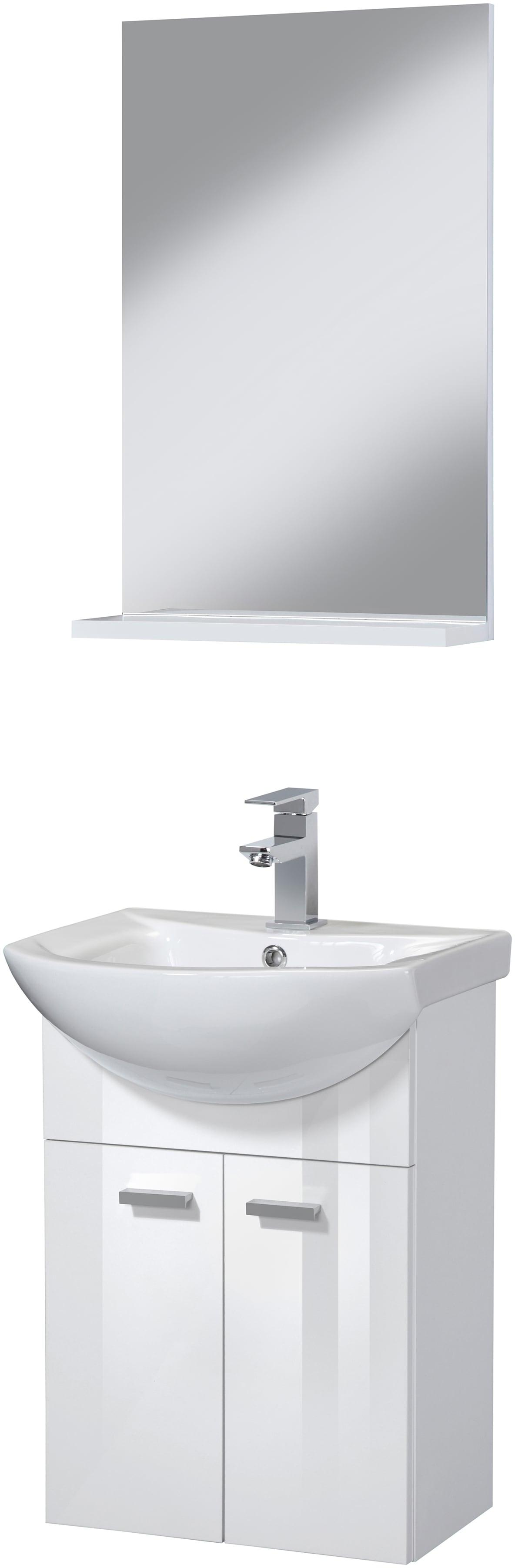 Badmöbel-Set SOMA Premium Waschtisch und Spiegel Breite 45 cm 3-tlg