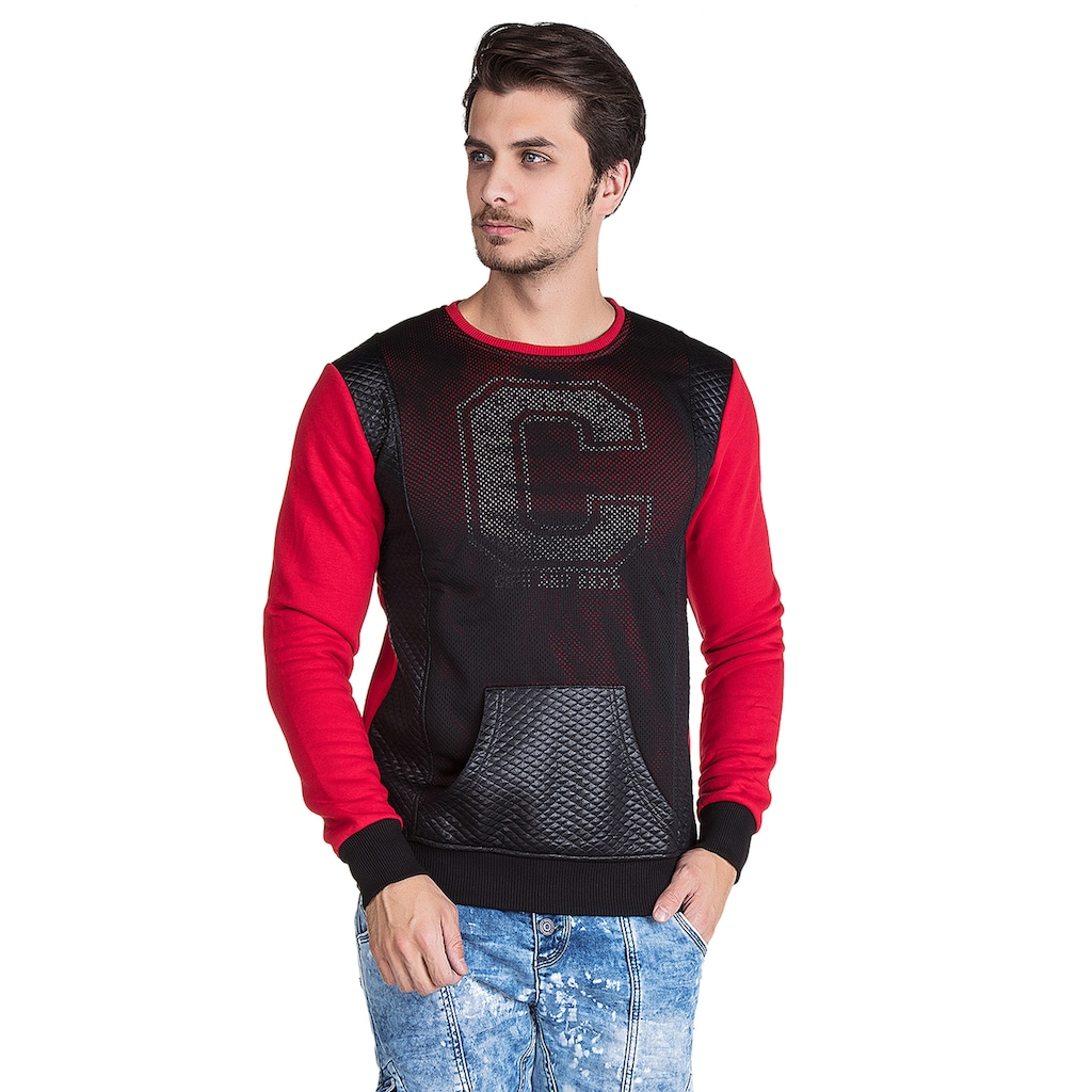 Cipo & Baxx Sweatshirt, in cooler Lochmuster-Optik