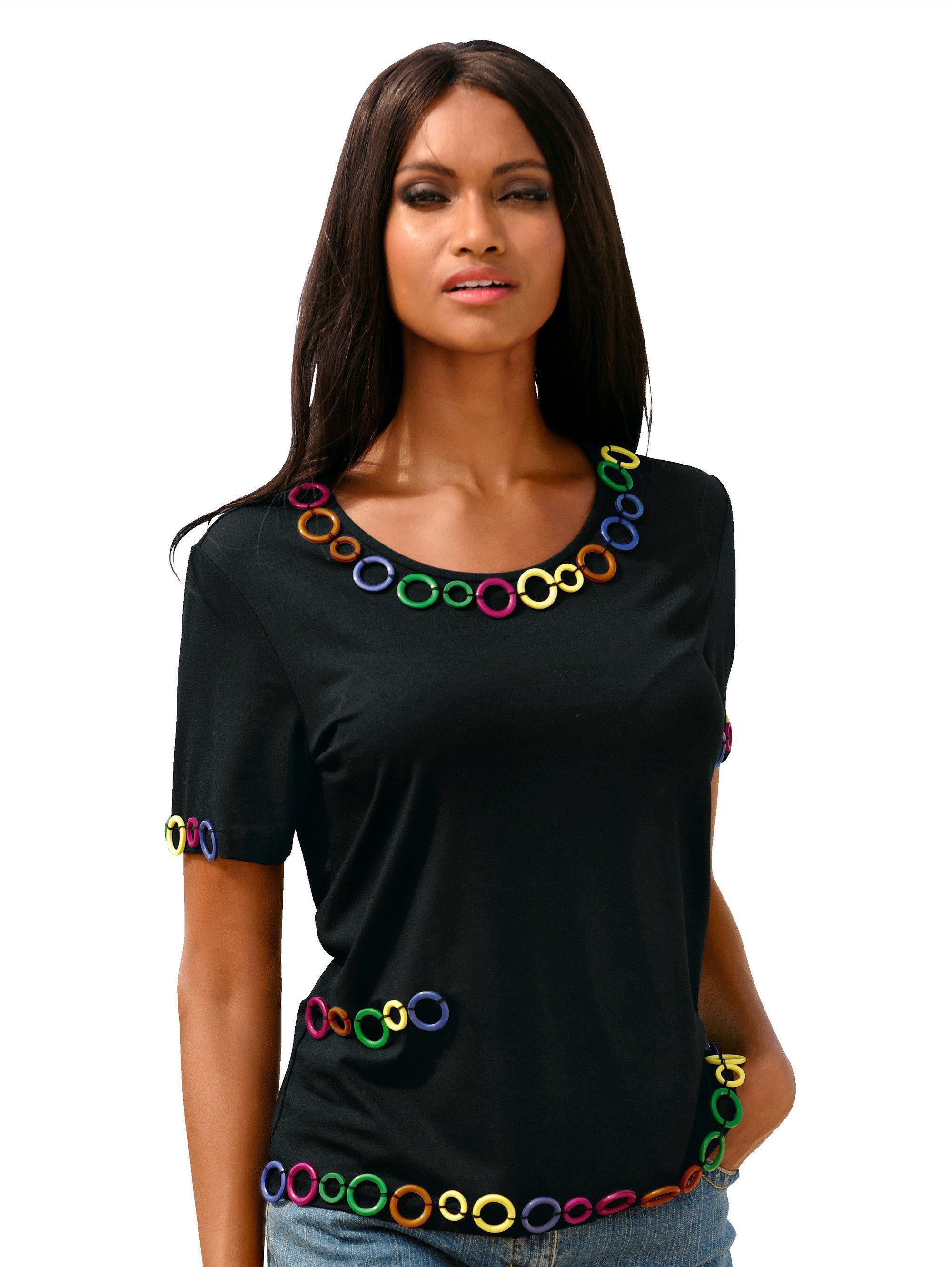 Alba Moda Shirt mit Applikationen in Matt-Glanz-Optik   Bekleidung > Shirts > Sonstige Shirts   Schwarz   Jersey - Viskose - Elasthan   Alba Moda