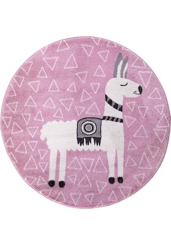 Festival Kinderteppich »Candy 153«, rund, 11 mm Höhe, Motiv Lama kaufen