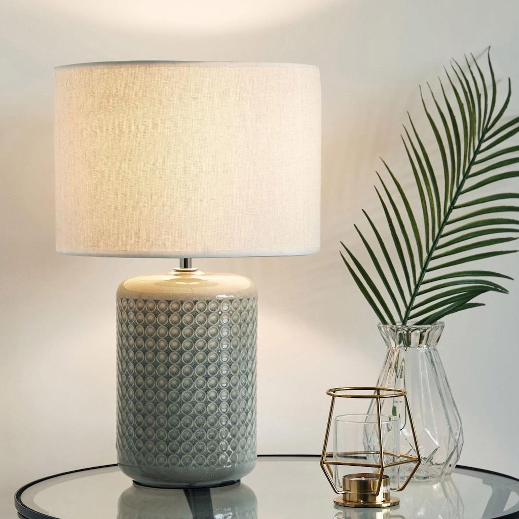 Pauleen Tischleuchte »Go for Glow«, E27, Beige/Grau/Grün, Stoffschirm, Keramikfuß