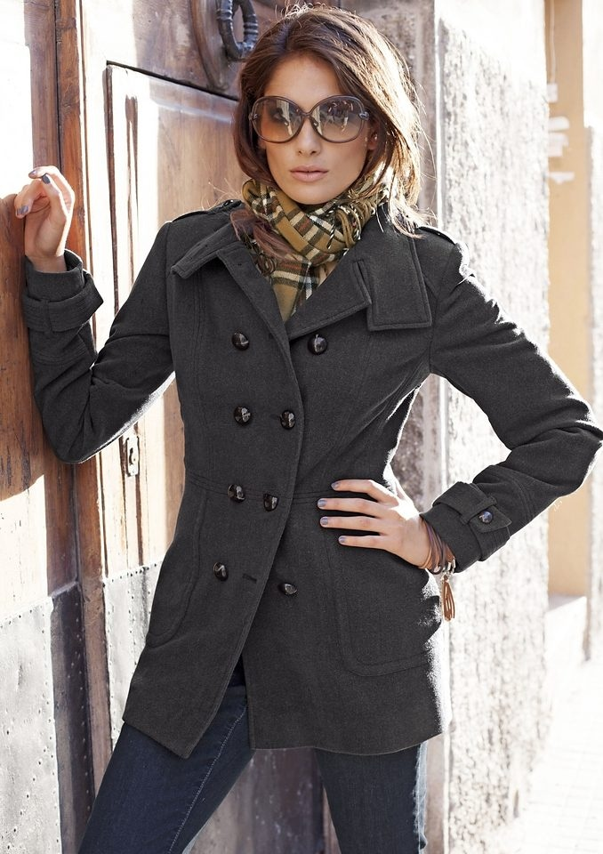 und im Aniston Schulterklappen Ärmelriegeln Military CASUAL Langjacke Style mit thQdsxrC