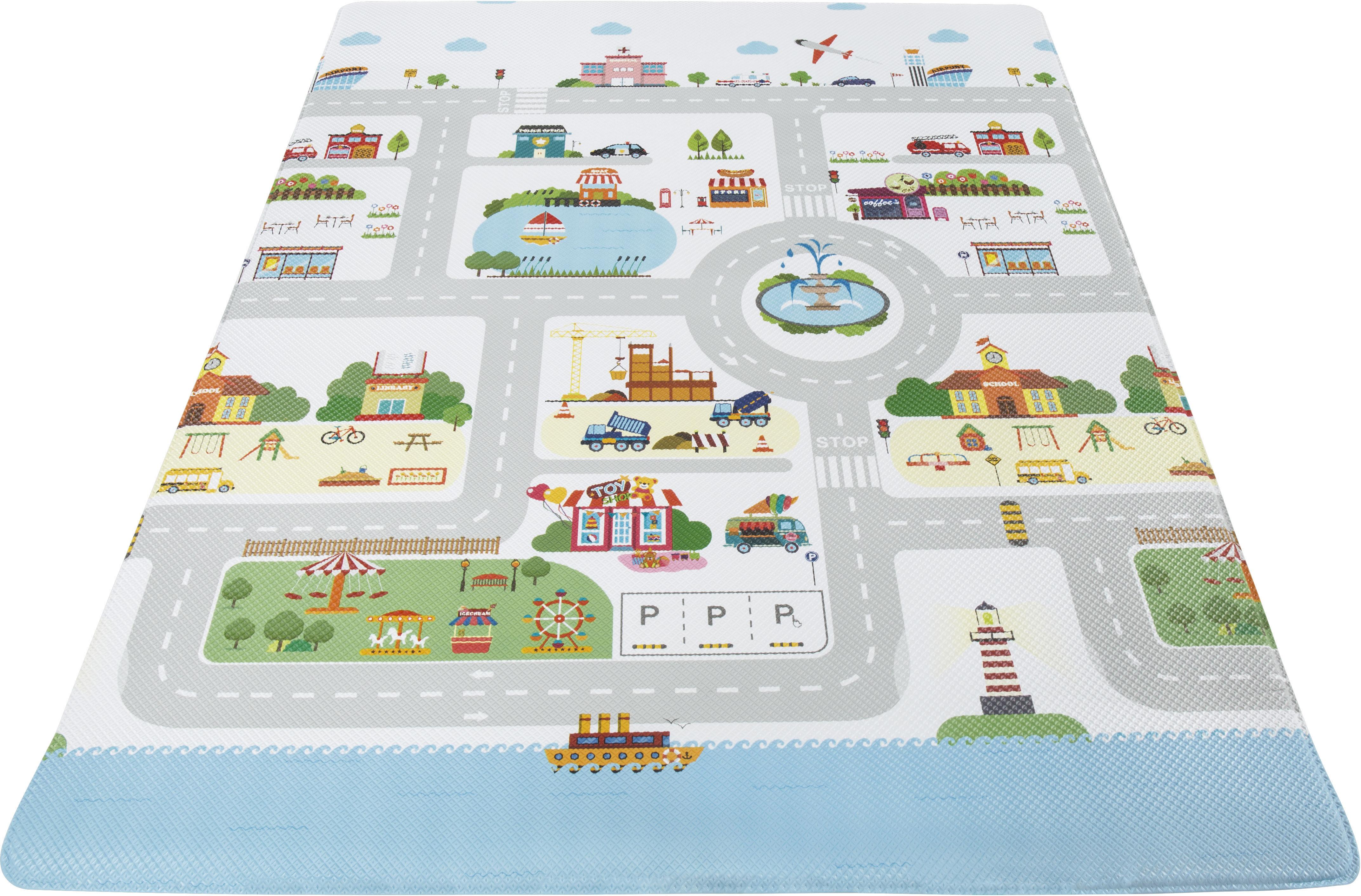 Andiamo Kinderteppich Spielmatte, rechteckig, 8 mm Höhe, Straßen-Spielteppich, abwischbar bunt Kinder Kinderteppiche mit Motiv Teppiche