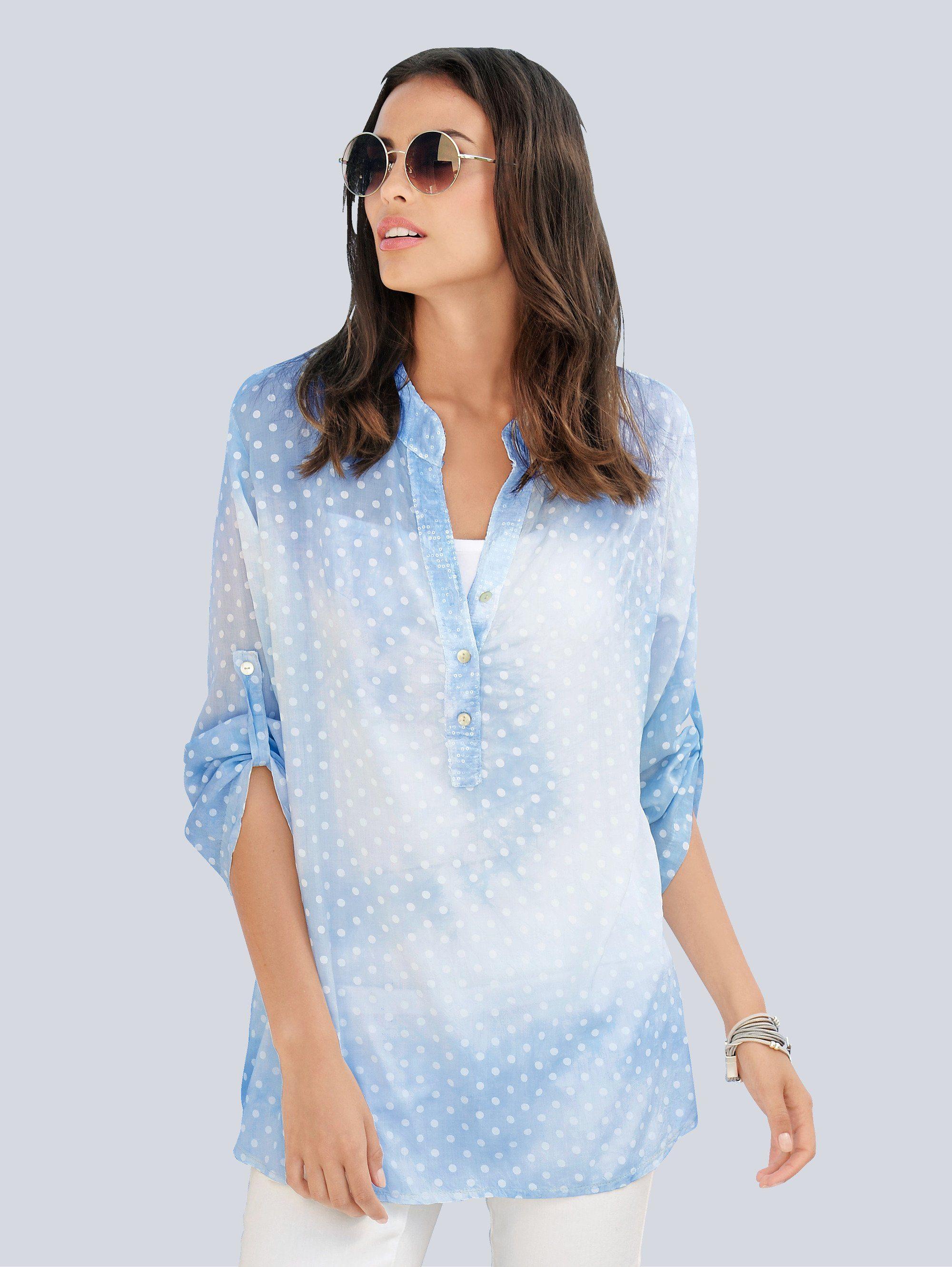Alba Moda Tunika mit wolkigem Farbverlauf | Bekleidung > Tuniken > Sonstige Tuniken | Blau | Viskose | ALBA MODA
