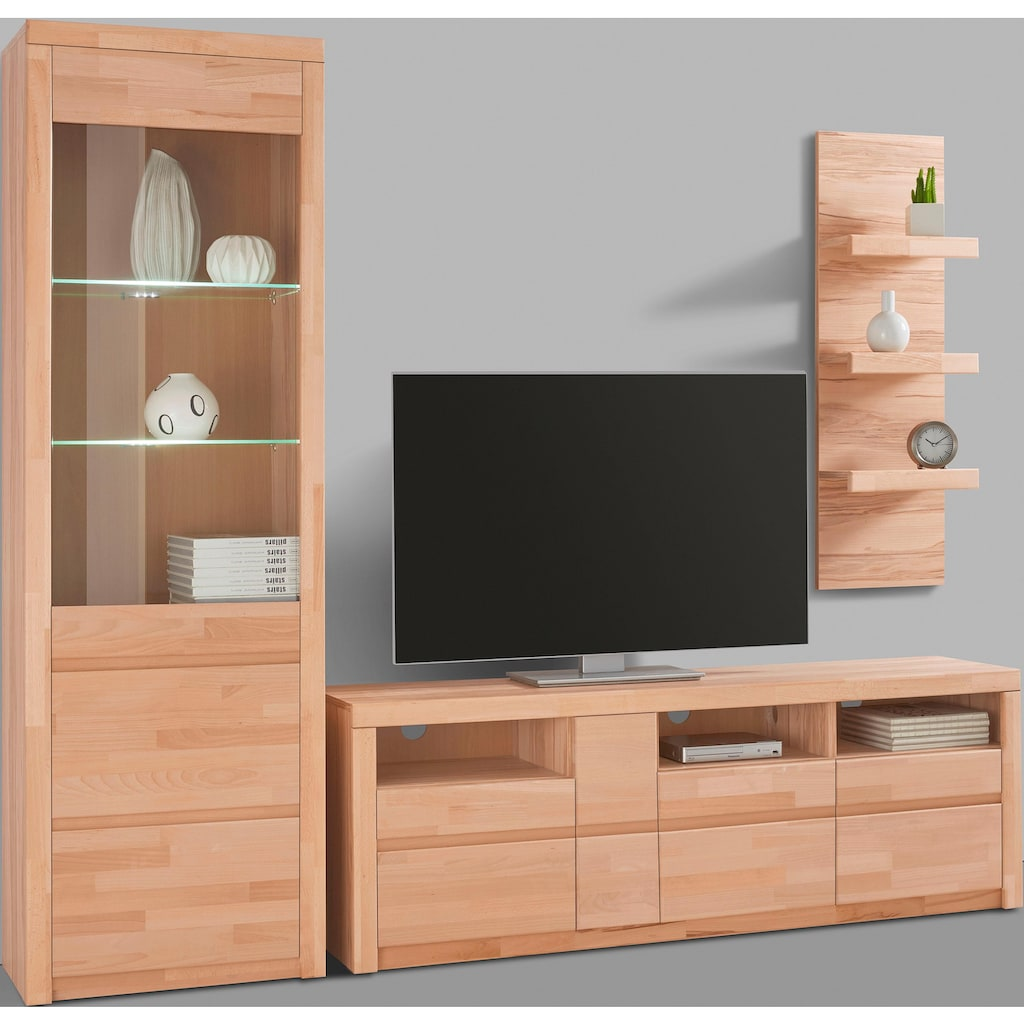 Woltra Wohnwand »Silkeborg«, (Set, 3 St.), teilmassives Holz