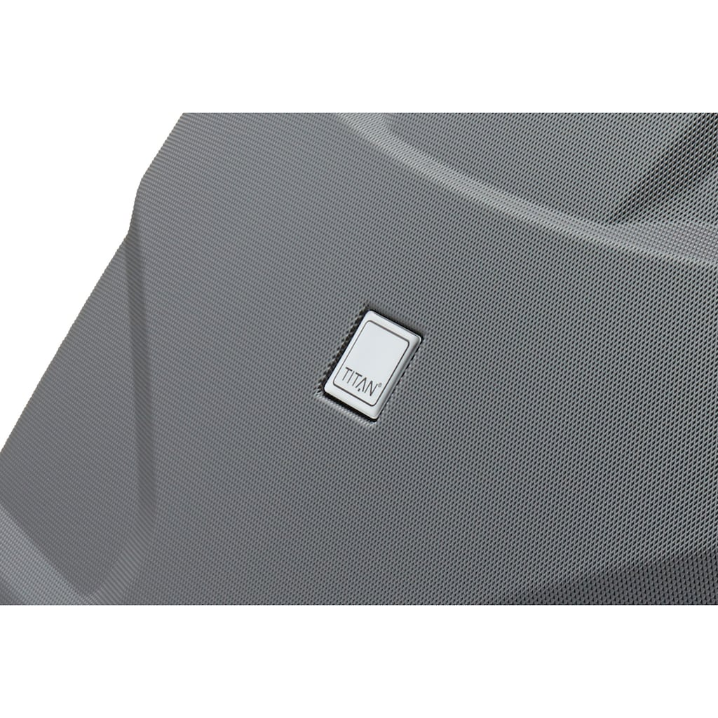 TITAN® Hartschalen-Trolley »X2«, 4 Rollen, mit Shark Skin Oberfläche und 4 Rollen