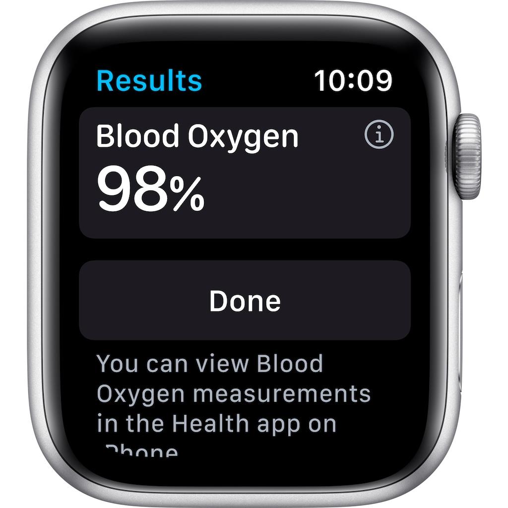 Apple Watch »Series 6 GPS, Aluminiumgehäuse mit Sportarmband 44mm« (, Watch OS 6, inkl. Ladestation (magnetisches Ladekabel)