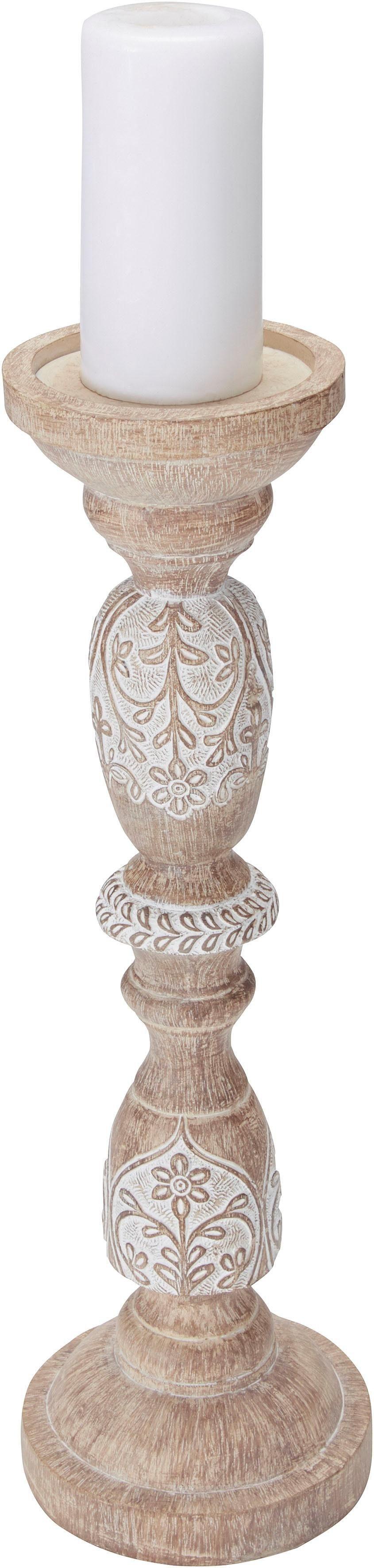 Home affaire Kerzenhalter, im Ethno-Look beige Kerzenhalter Kerzen Laternen Wohnaccessoires