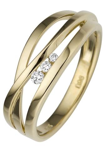 JOBO Diamantring, breit 585 Gold mit 3 Diamanten kaufen