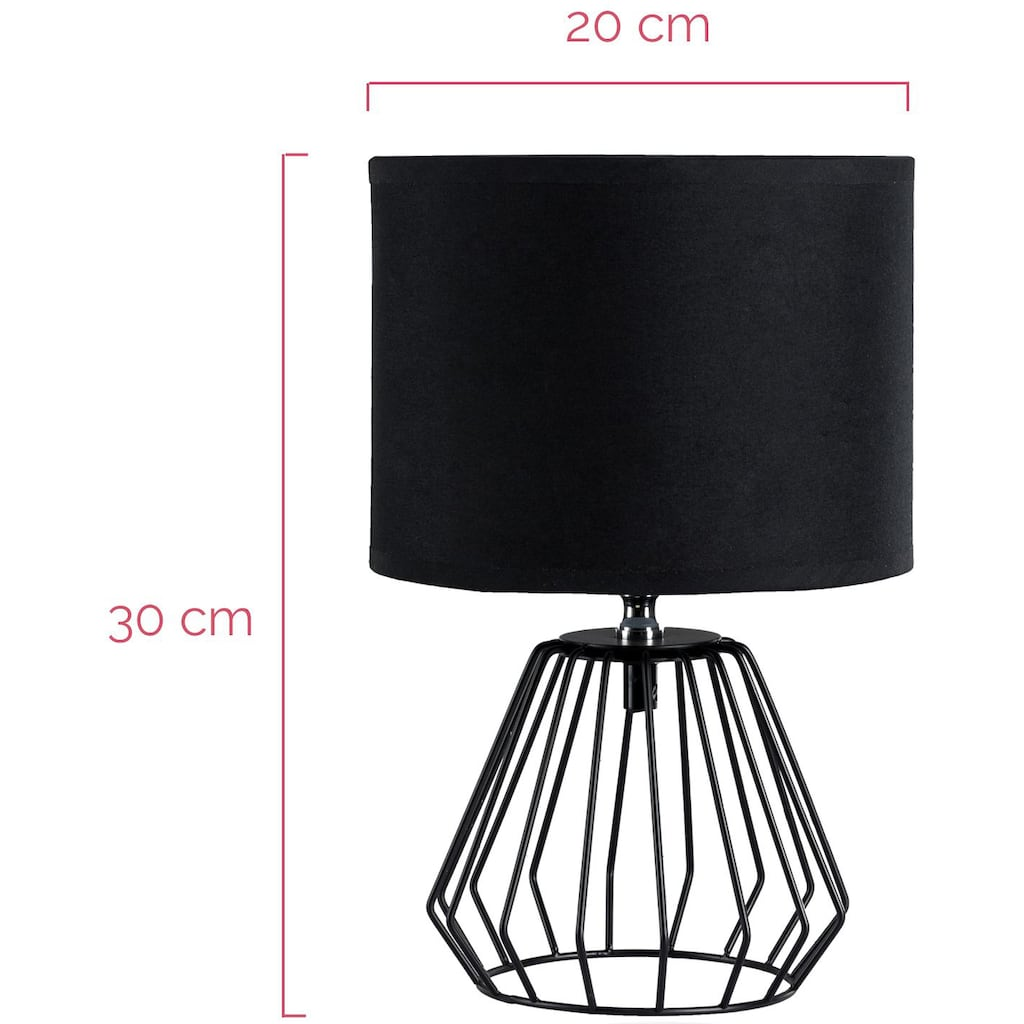Pauleen LED Tischleuchte »Shiny Diamond inklusive Leuchtmittel«, E27, 2 St., Warmweiß, 3step dimmbar, Schwarz, Draht, Stoffschirm
