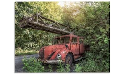 Artland Glasbild »Rostlaube Feuerwehrauto«, Auto, (1 St.) kaufen