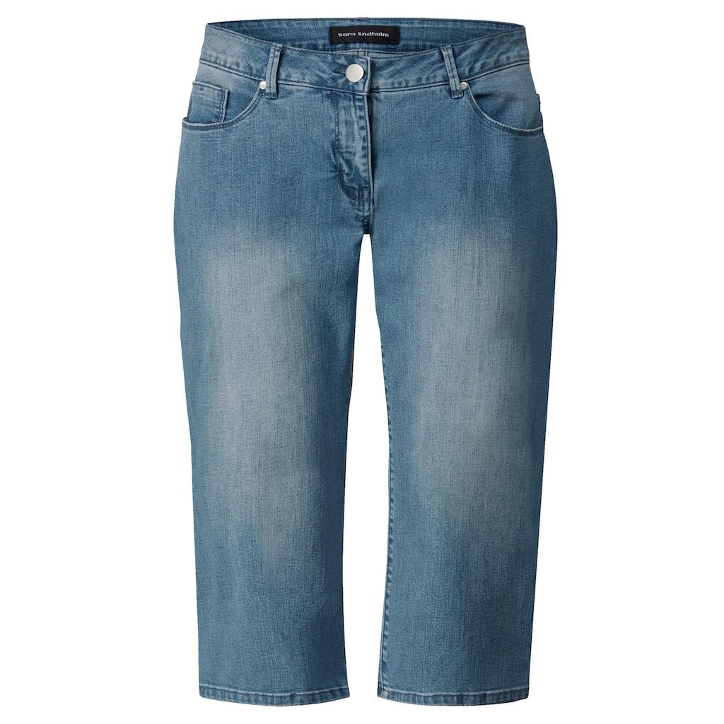 Sara Lindholm by Happy Size Capri-Jeans mit Strasssteinen