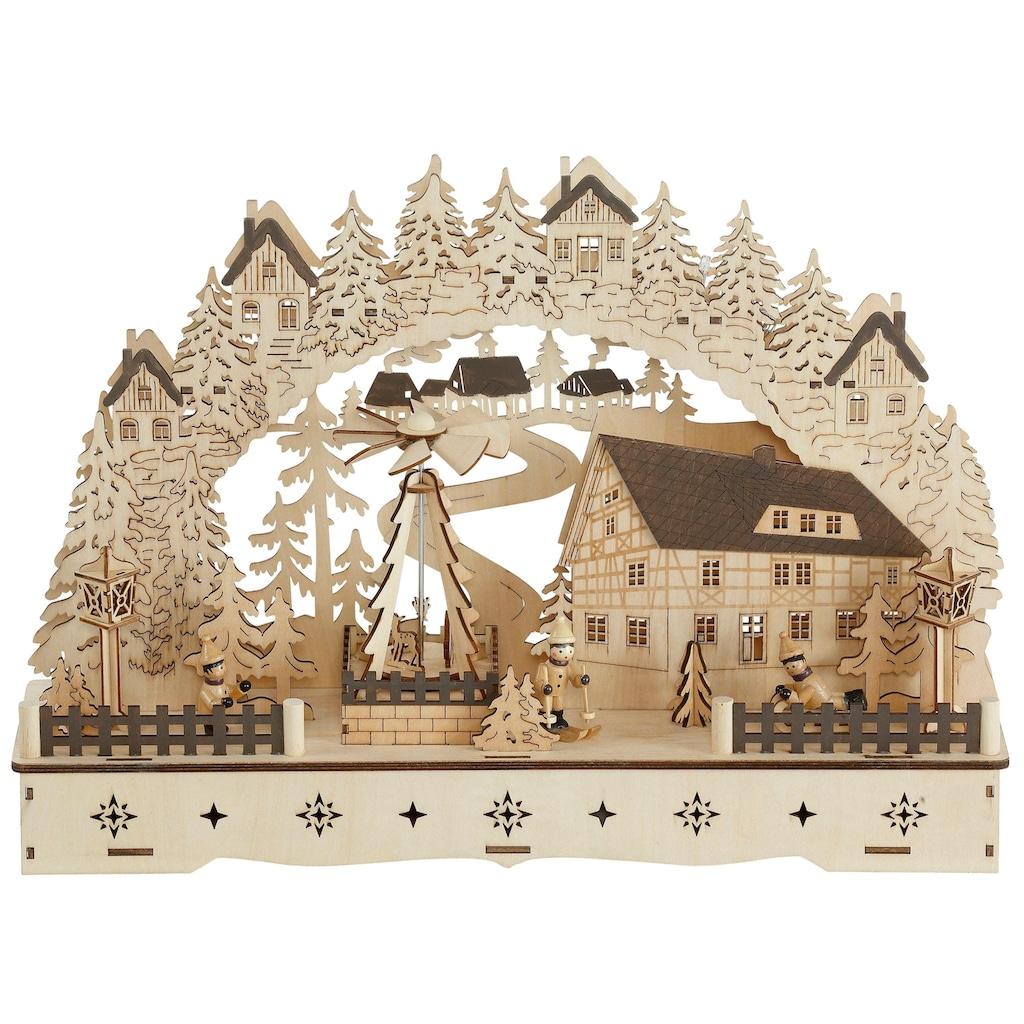 Schwibbogen »Fachwerkhaus«, mit bewegter Pyramide, 3D-Optik