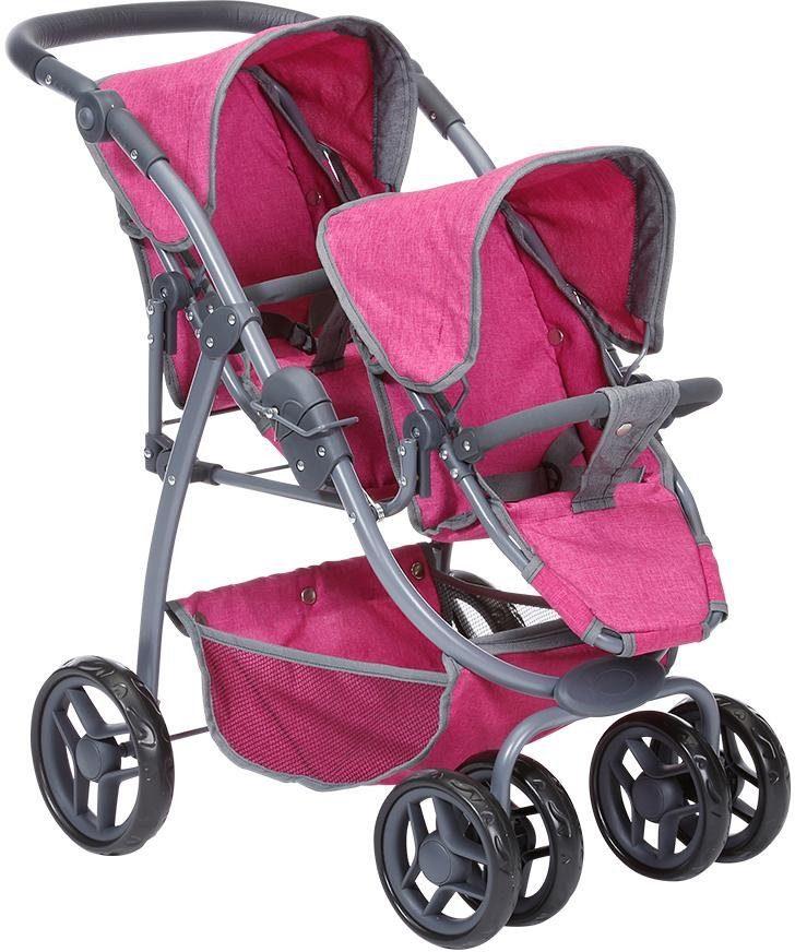 Knorrtoys Puppen-Zwillingsbuggy Milo - berry rosa Kinder Puppenzubehör Puppen Puppenwagen