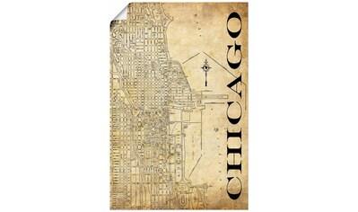 Artland Wandbild »Chicago Karte Straßen Karte Sepia«, Amerika, (1 St.), in vielen Größen & Produktarten - Alubild / Outdoorbild für den Außenbereich, Leinwandbild, Poster, Wandaufkleber / Wandtattoo auch für Badezimmer geeignet kaufen