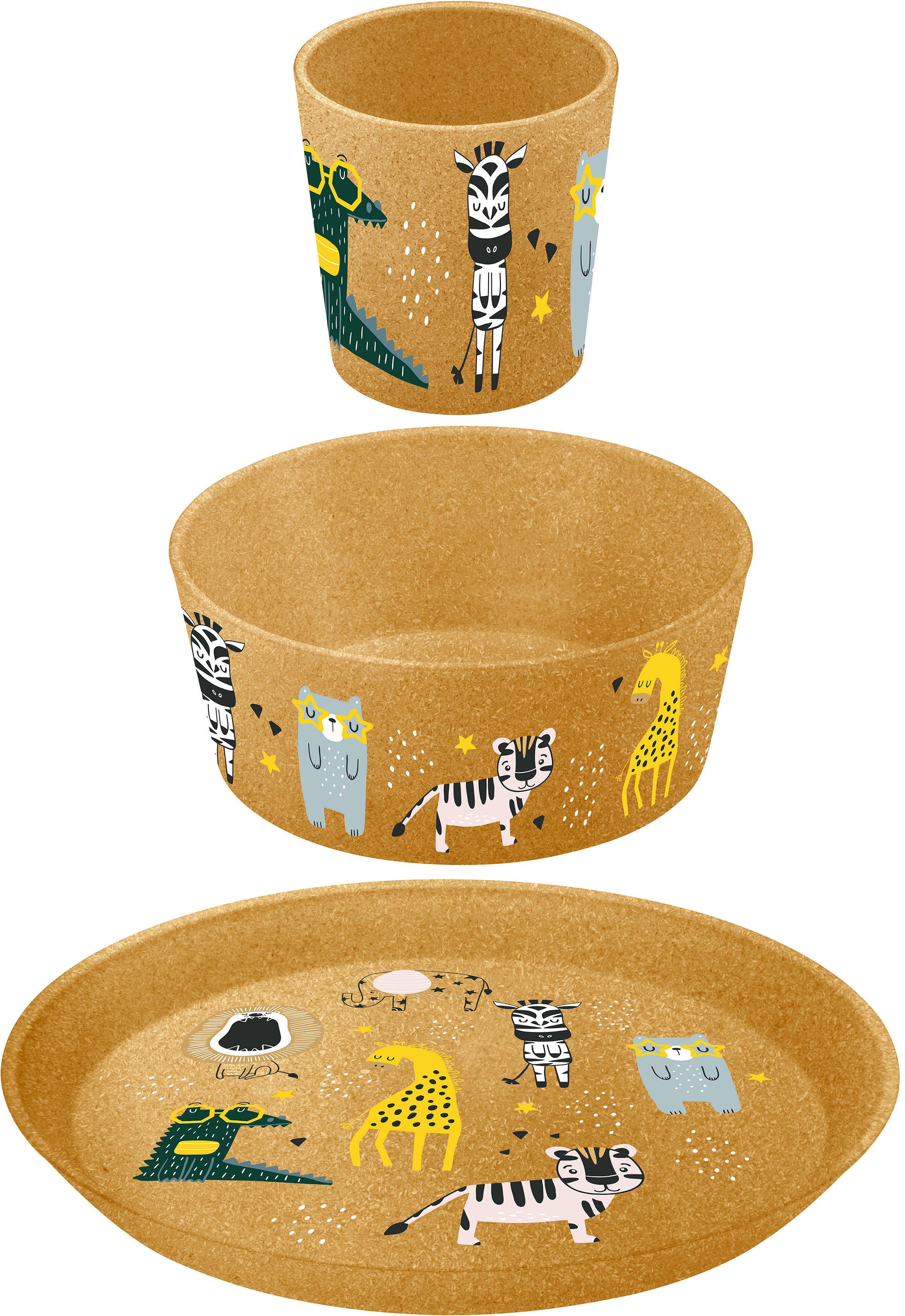 KOZIOL Kindergeschirr-Set 3er-Set Kleiner Teller + Schale Becher CONNECT ZOO, (Set, 3 tlg., Becher), CO2 neutrale Produktion 100% made in Germany, melaminfrei, recycelbar braun Kinder Kindergeschirr Geschirr, Porzellan Tischaccessoires Haushaltswaren