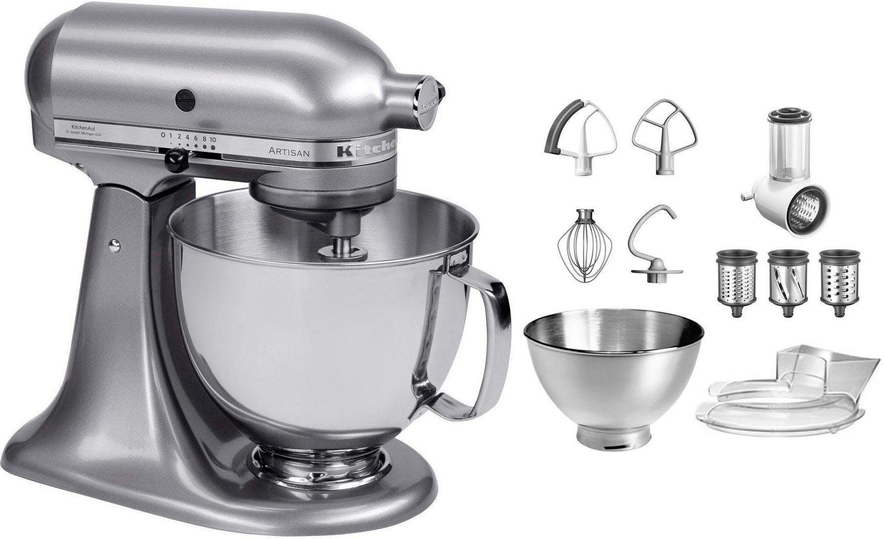 Kitchenaid Kuchenmaschine Artisan 5ksm175psecu Mit Gratis Gemuseschneider Und 3 Trommeln 300 Watt Schussel 4 8 Liter Online Kaufen Baur