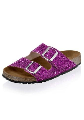 Alba Moda Pantolette im Glitter - Look kaufen