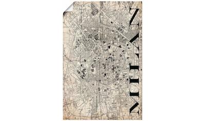 Artland Wandbild »Mailand Karte Straßen Karte Grunge«, Italien, (1 St.), in vielen Größen & Produktarten - Alubild / Outdoorbild für den Außenbereich, Leinwandbild, Poster, Wandaufkleber / Wandtattoo auch für Badezimmer geeignet kaufen