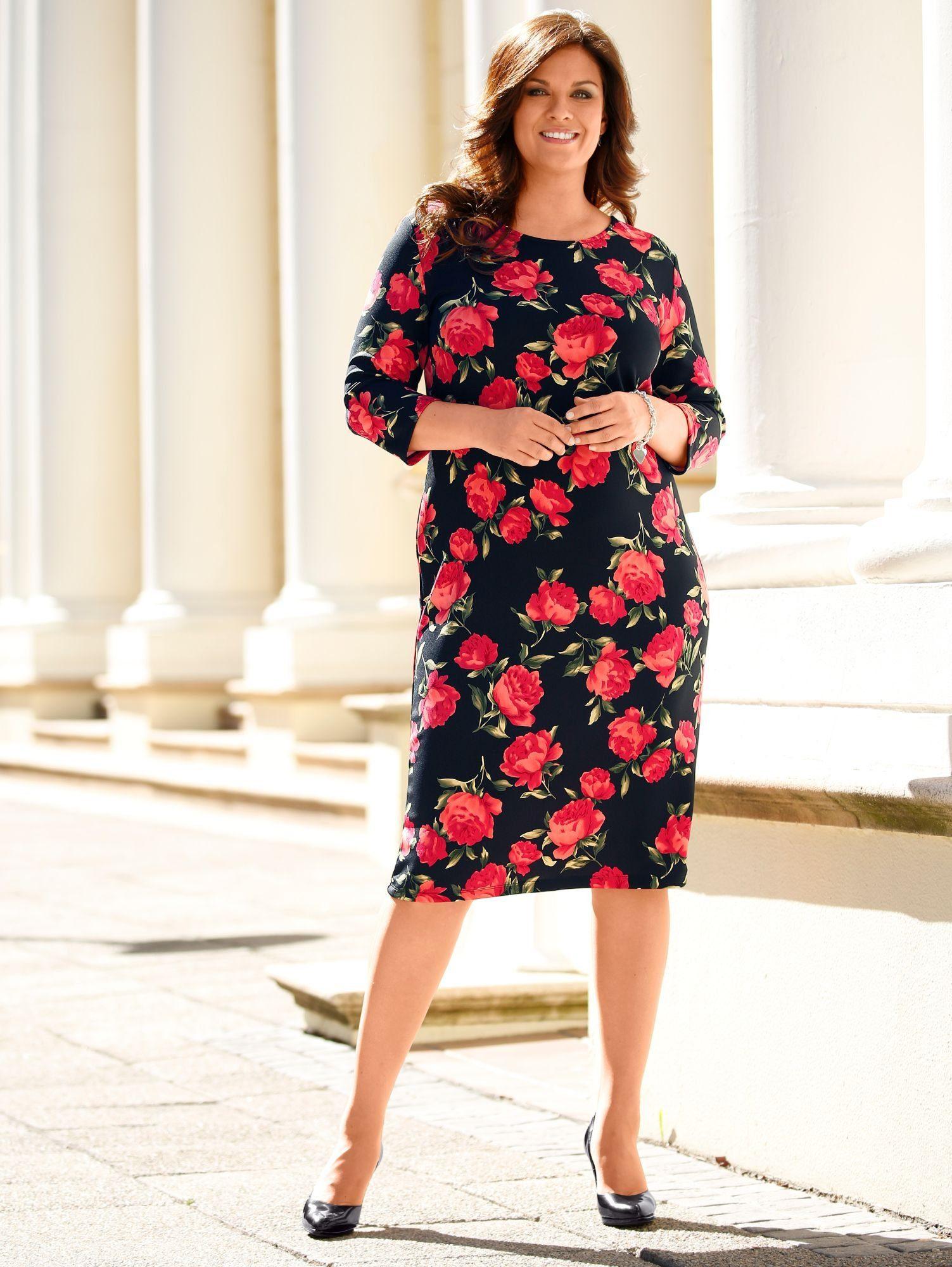 m. collection Kleid mit Rosendruck-Muster