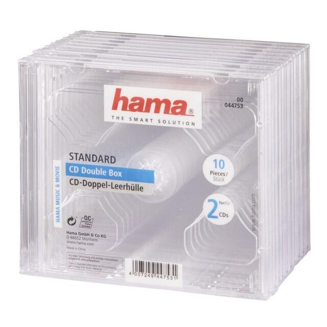 Hama CD-Doppel-Leerhülle Standard, 10er-Pack, Transparent
