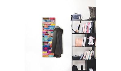 Artland Garderobe »Bunte Mauer«, platzsparende Wandgarderobe aus Holz mit 3 Haken,... kaufen