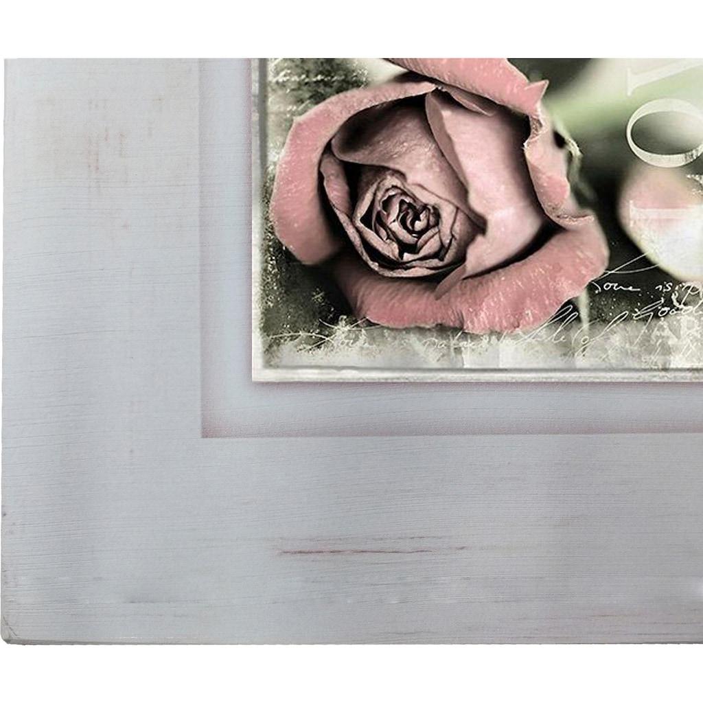 Home affaire Holzbild »Rosenblüte mit Schrift«, 40/40 cm