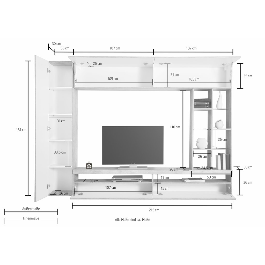 Tecnos Mediawand, (4 St.), Breite 250 cm