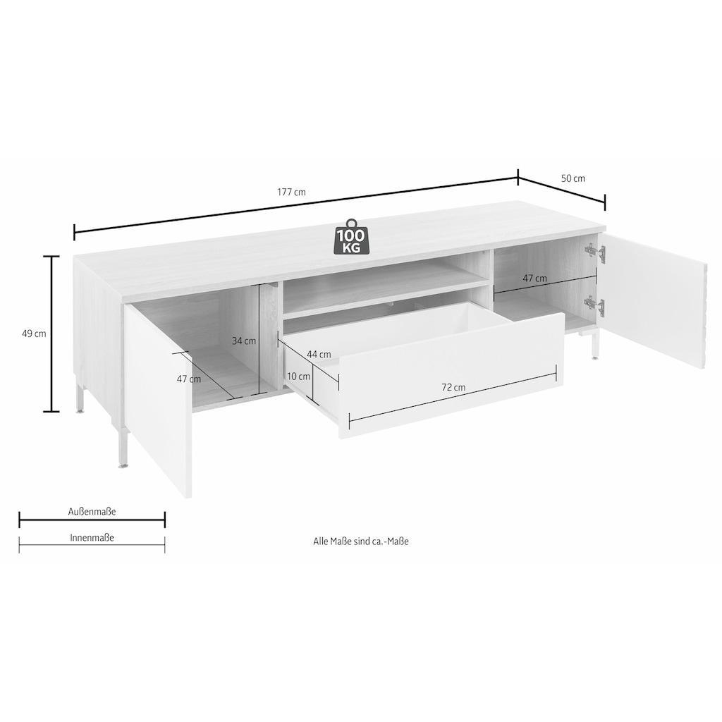 INOSIGN Lowboard, mit schönen Fräsungen auf der rechten Frontseite, Breite 177 cm