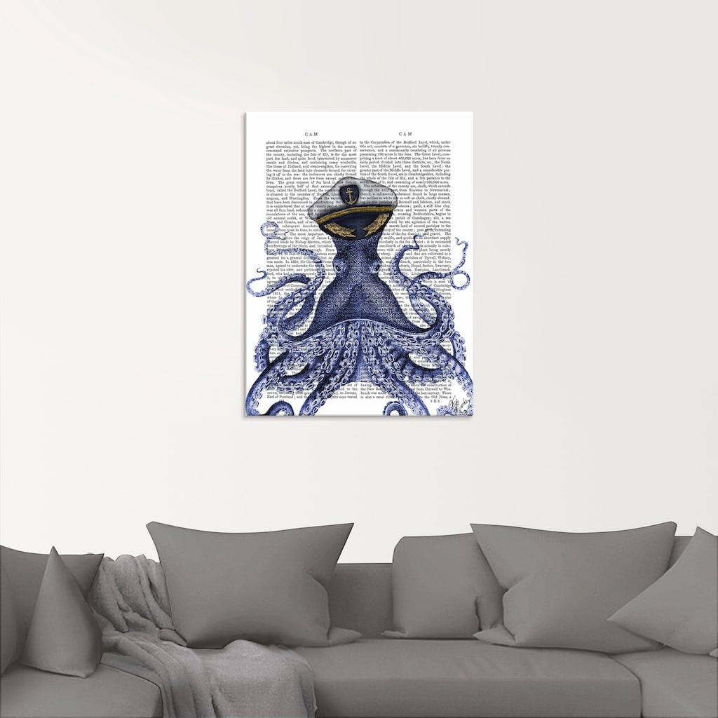 Artland Glasbild »Kapitän Oktopus«, Wassertiere, (1 St.)