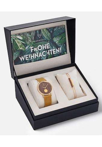 KERBHOLZ Quarzuhr »Frida Walnut Mustard, XMAS - SET« (Set, 2 tlg., mit einem schicken, goldfb. Schmuckarmband) kaufen