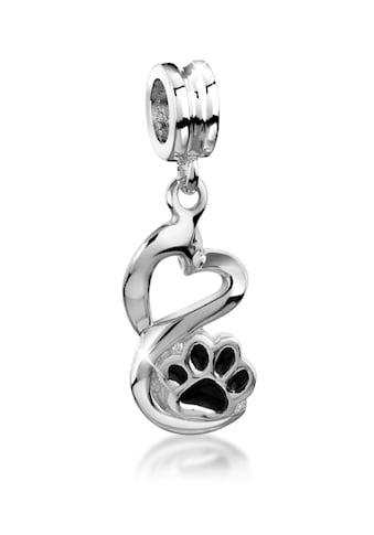 Nenalina Charm Herz »Bead Herz Pfote Tierliebe Emaille 925 Silber« kaufen