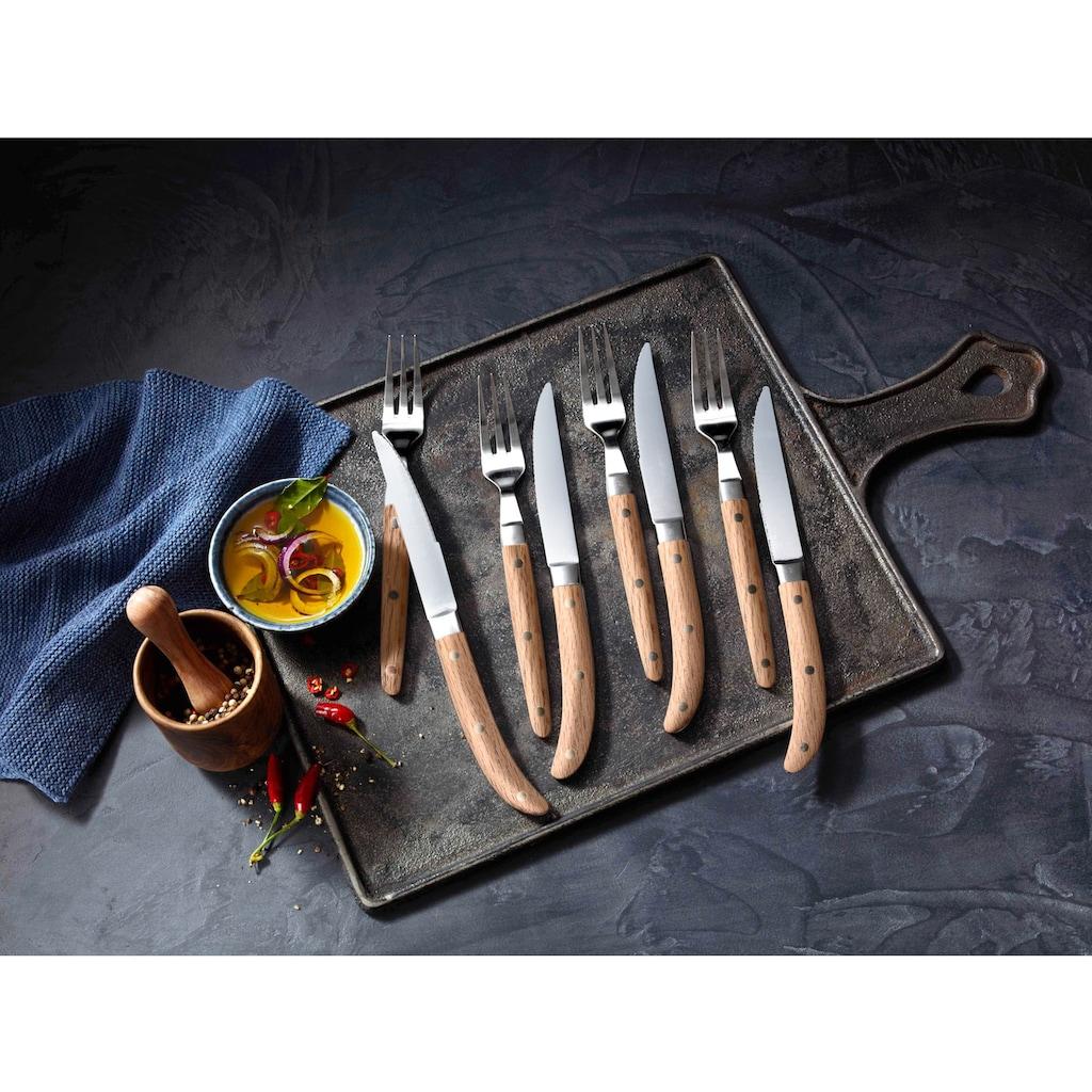 WMF Steakbesteck »Ranch«, (Set, 12 tlg.), Cromargan Edelstahl 18/10 mattiert, Eichenholz geölt, 12-teilig