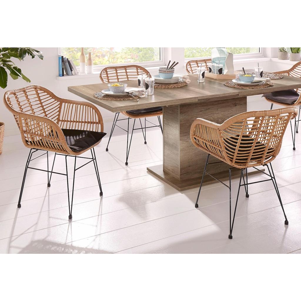 Homexperts Esszimmerstuhl »Ylvi«, Sitzschale aus Kunststoff in Rattan-Optik mit Sitzkissen in Stoffbezug