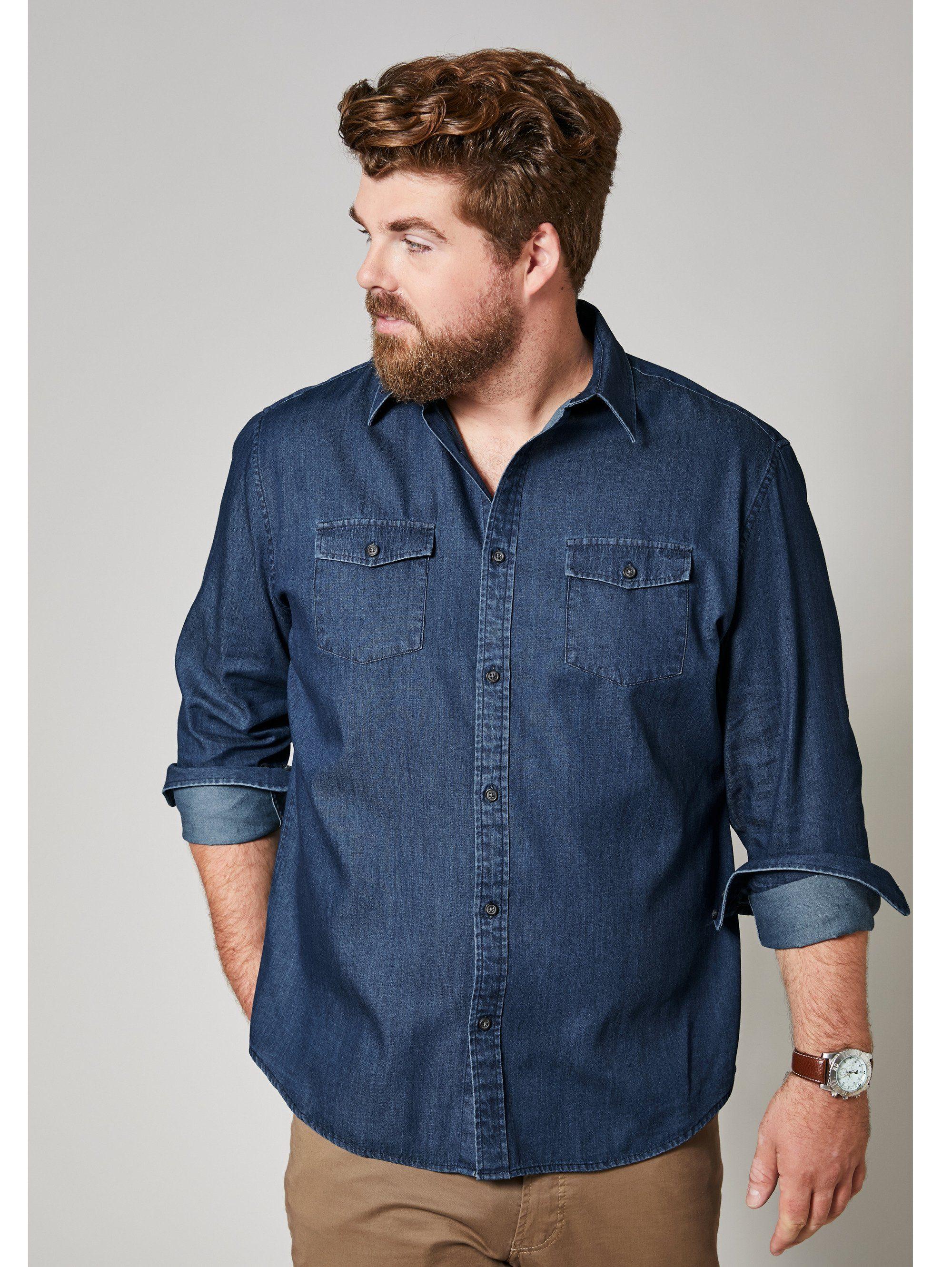 Men Plus by Happy Size Jeanshemd | Bekleidung > Hemden > Jeanshemden | Blau | Denim - Baumwolle | Men Plus By Happy Size